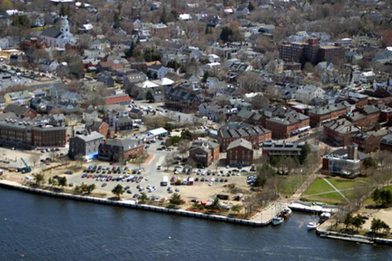 Aerial view of Waterfront and downtown.